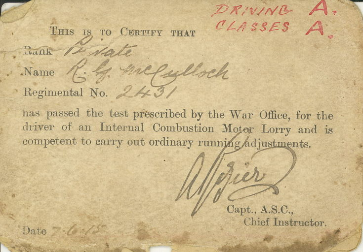 1915 Army Driving certificate Robert McCulloch