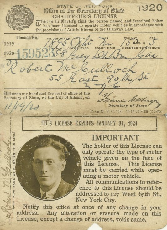 1919 New York Drivers Licence Robert McCulloch