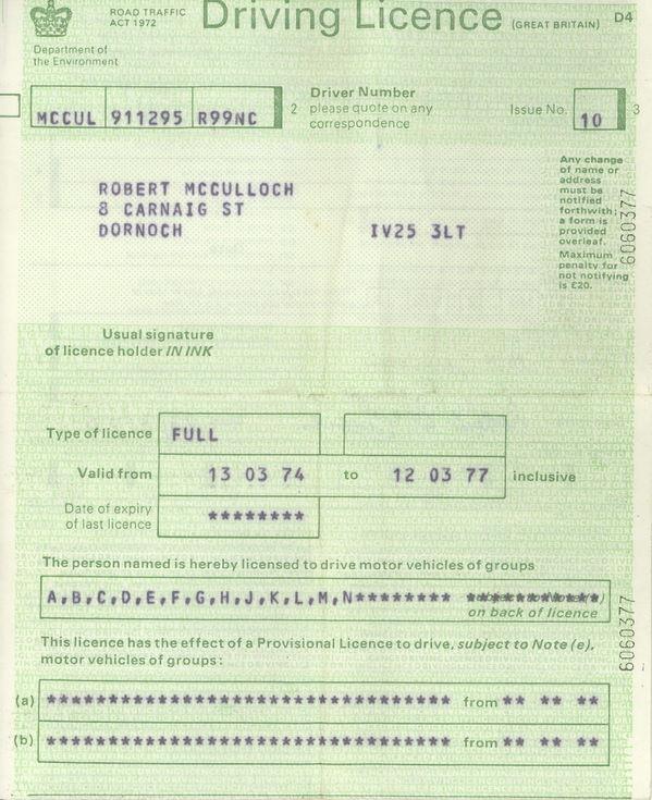 1974 Driving Licence Robert McCulloch