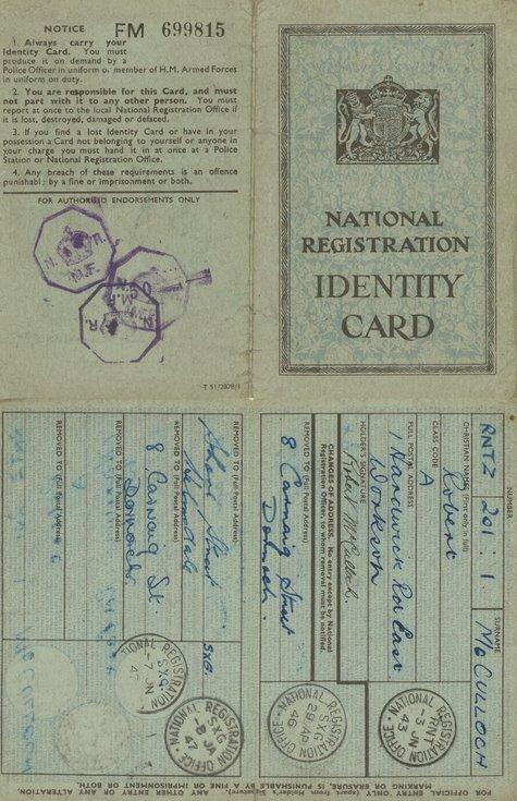 National Registration Identity Card Robert McCulloch