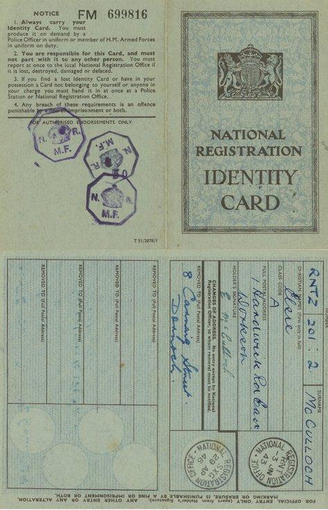 National Registration Identity Card Elsie McCulloch