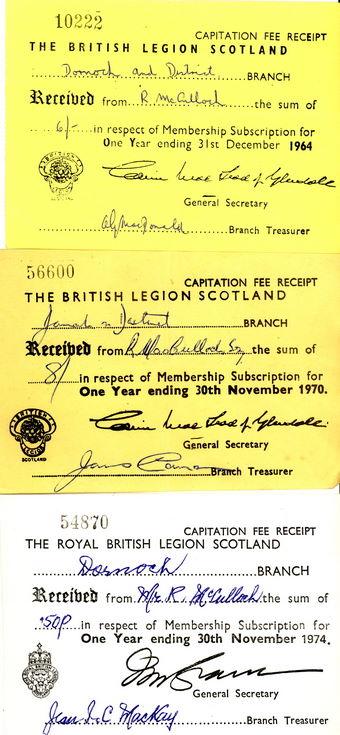 British Legion of Scotland Capitation Fee Receipts