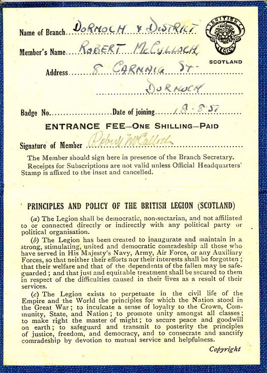 British Legion of Scotland Membership Card 1957
