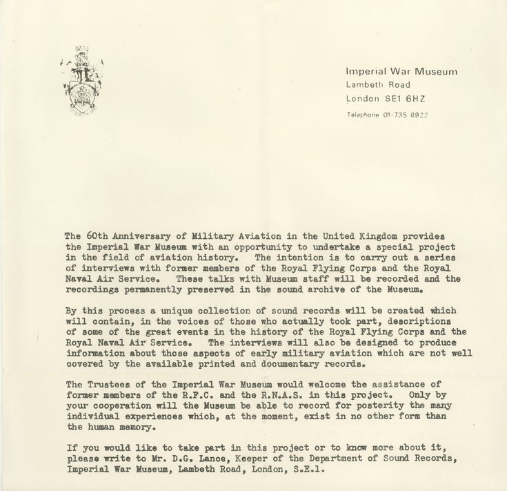 Imperial War Museum letter: Sixtieth Anniversary of Military Aviation