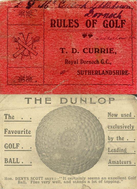 Royal Dornoch Golf Club Membership Card 1976-77