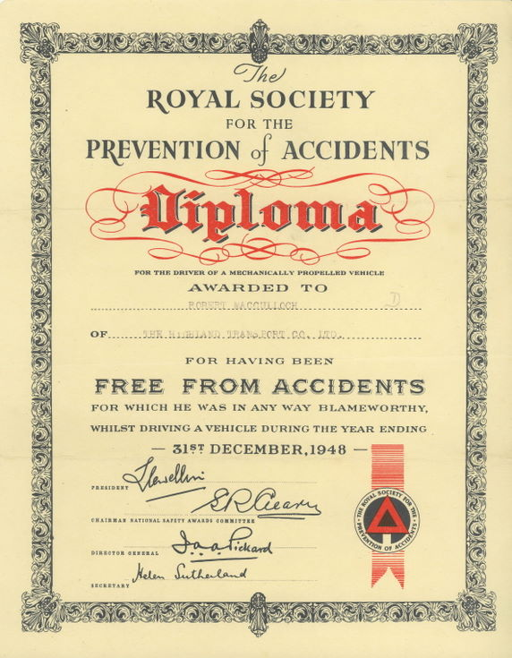 Royal Society for the Prevention of Accidents Diploma 1948