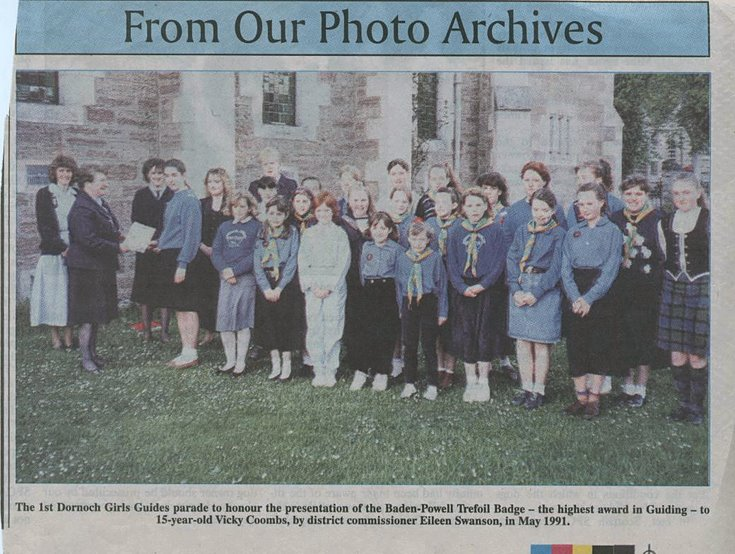 Photograph of 1st Dornoch Girl Guides Parade of Honour 1991