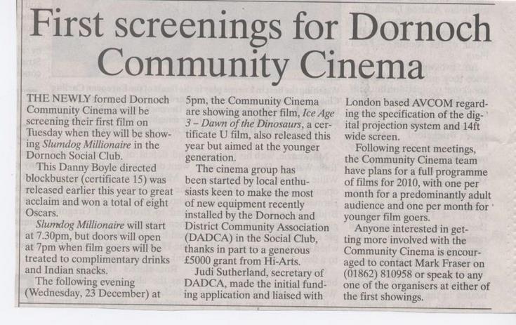 First screenings for Dornoch Community Cinema