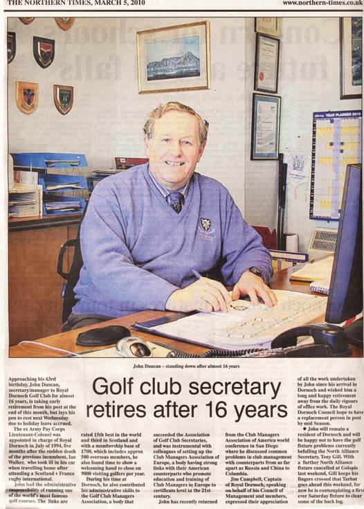 John Duncan Golf Club Secretary retires