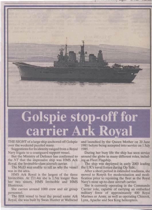 Golspie stop-ff for carrier HMS Ark Royal