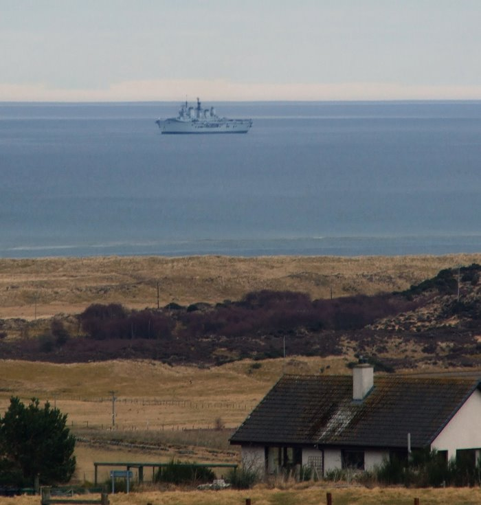 HMS Ark Royal viewed from Skelbo Muir