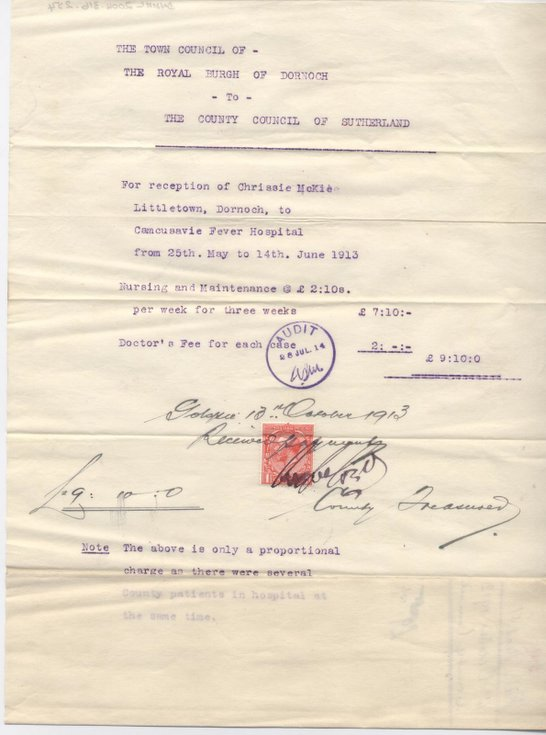 Bill for patient at Cambusavie Fever Hospital 1913
