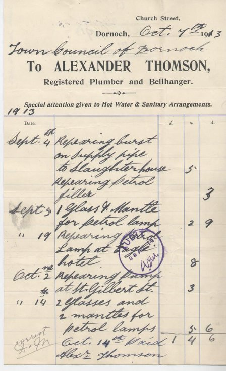 Bill for repairs to slaughterhouse and street lamps 1913