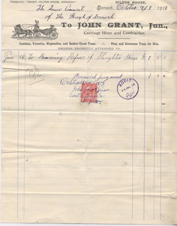Bill for removal of refuse from slaughterhouse 1913