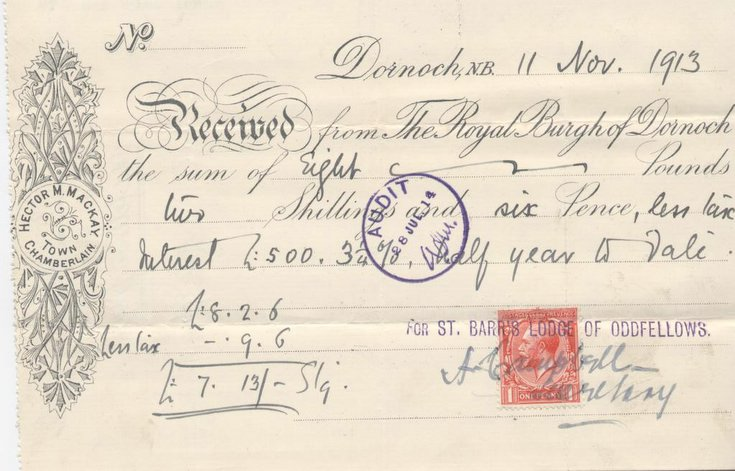 Receipt for interest 1913