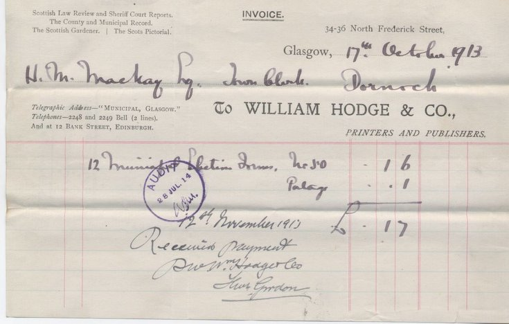 Bill for election forms 1913