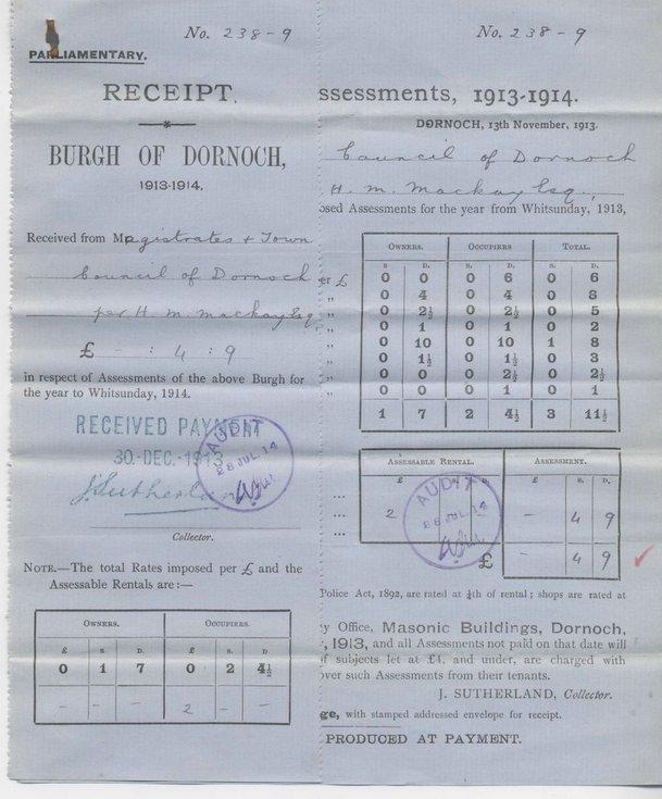 Parliamentary burgh assessment 1913