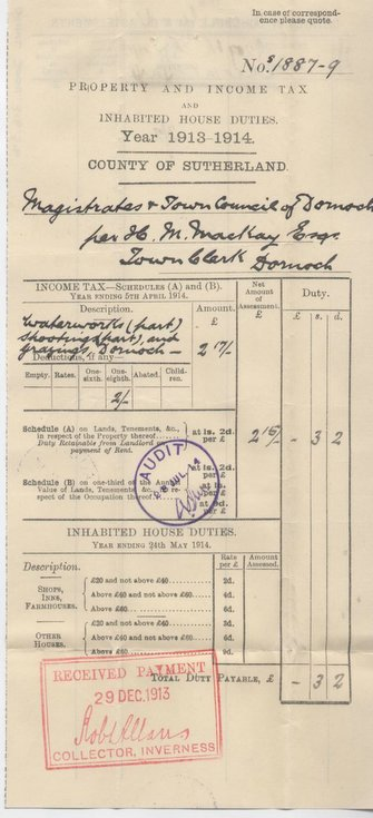 Income tax assessment 1913