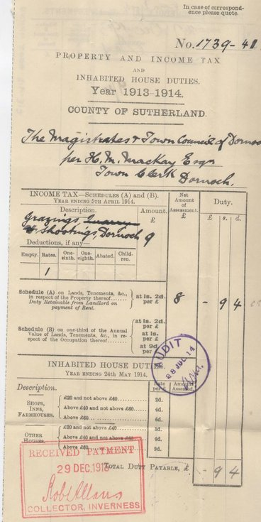 Income tax assessment 1913 grazings and shootings