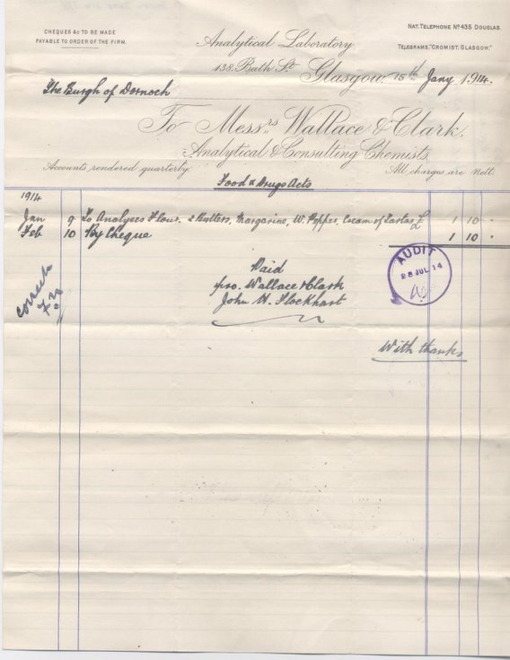 Bill for analysing foodstuffs 1914