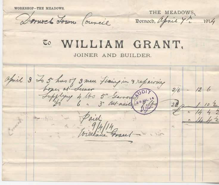 Bill for repairs to drains 1914