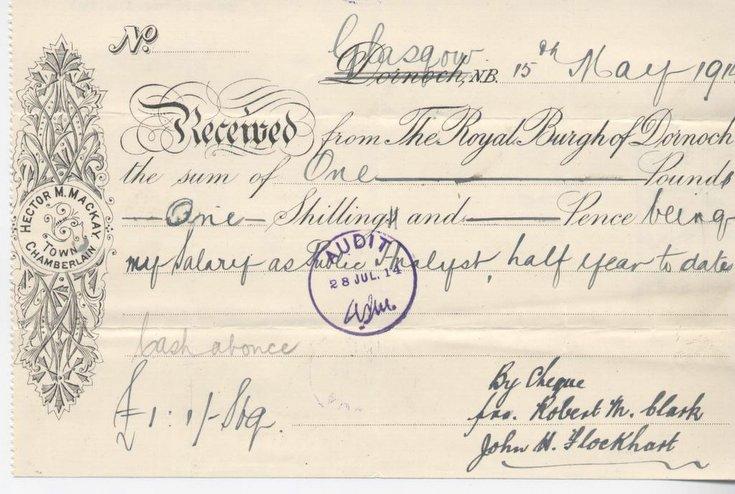 Receipt for public analyst's salary 1914