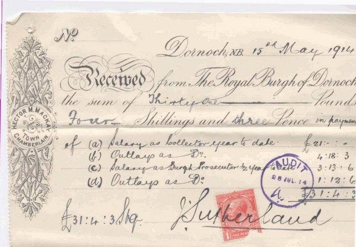 Payment to burgh collector 1914