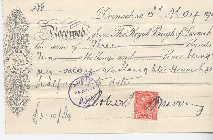 Receipt for slaughterhouse superintendent's salary 1914