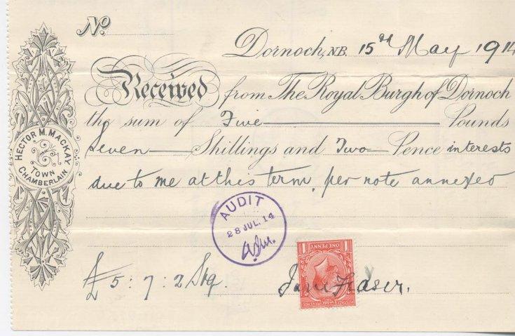 Receipt for interest re slaughterhouse 1914