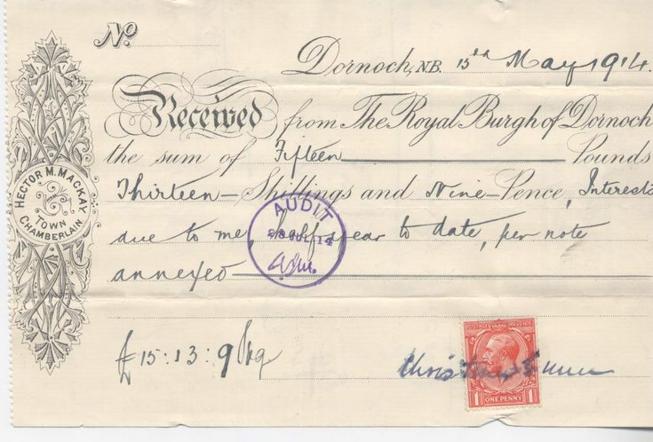 Receipt for interest re water and railway 1914