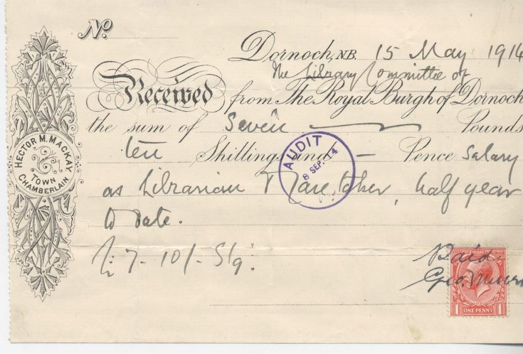 Receipt for librarian's salary 1914