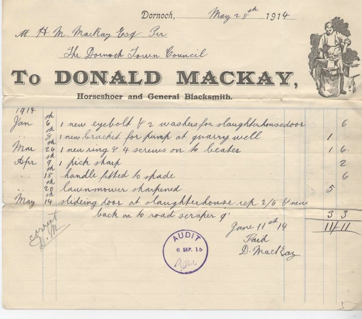 Bill for materials and blacksmith services 1914