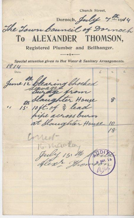 Plumber and Bellhanger's bill for maintenance 1914