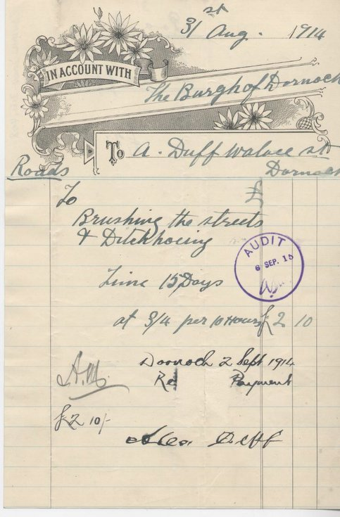 Bill for street cleaning 1914