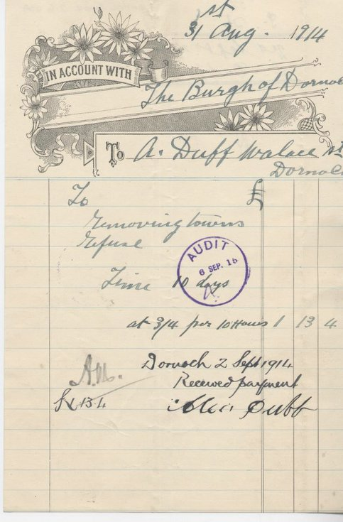 Bill for removal of refuse 1914