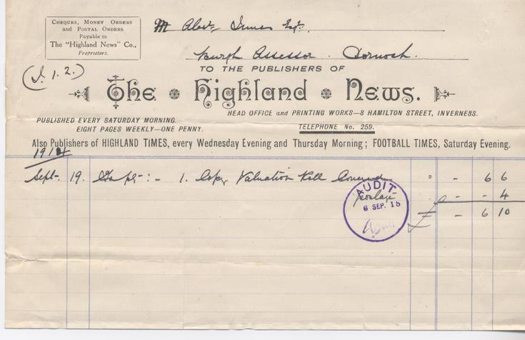Bill for valuation roll 1914