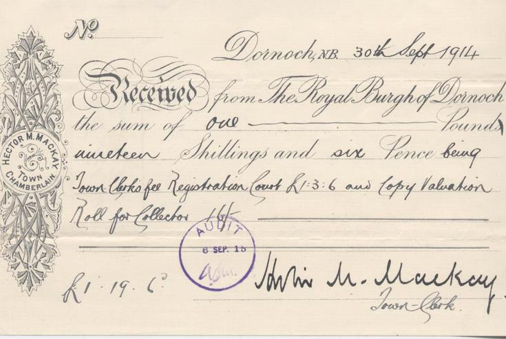 Receipt for payment for valuation roll 1914