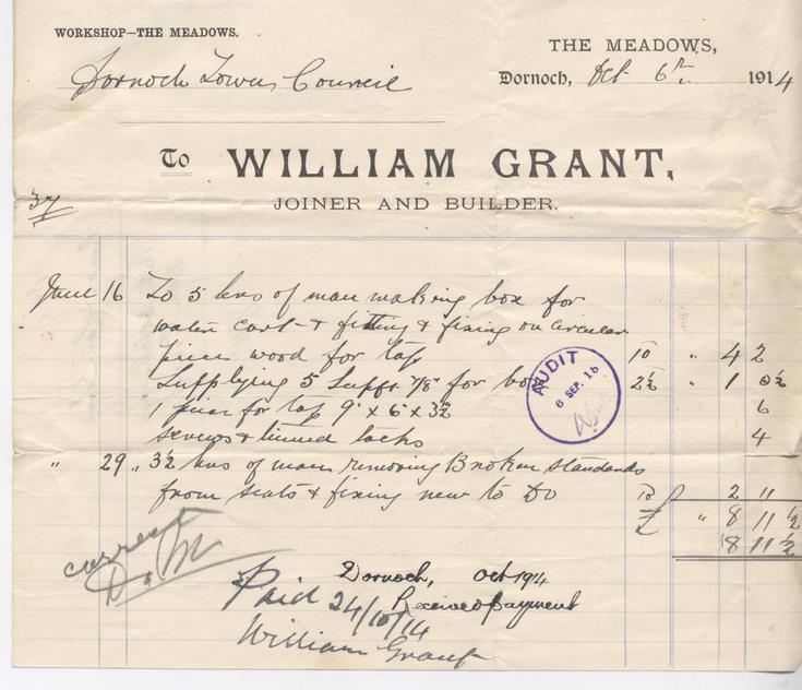 Bill for repairs 1914