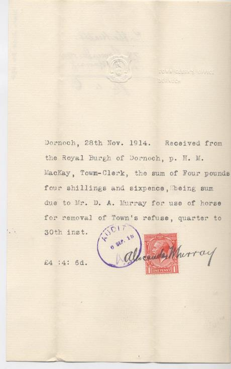 Receipt for use of horse 1914