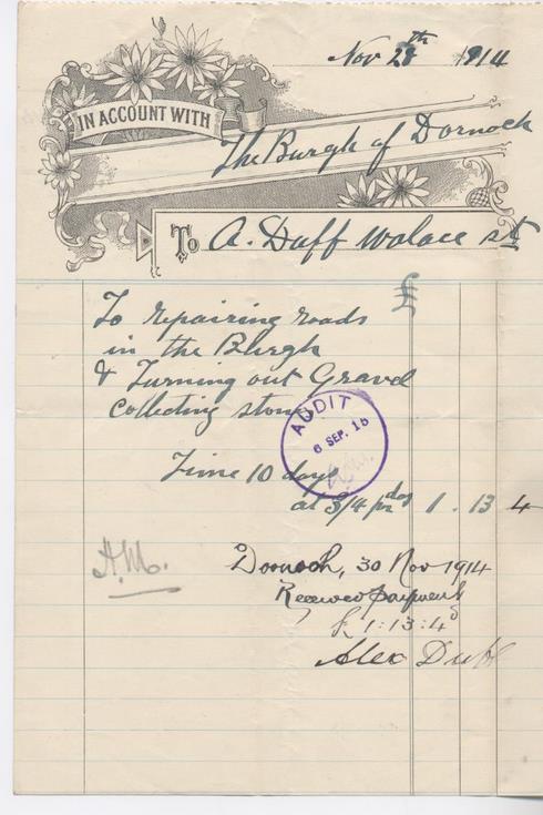 Bill for road repairs 1914