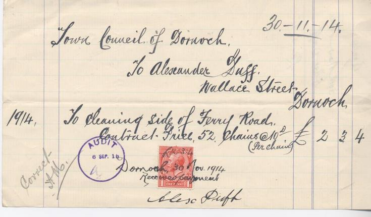 Bill for road cleaning 1914
