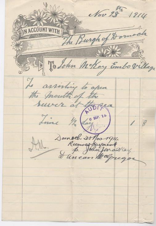 Bill for sewer maintenance 1914