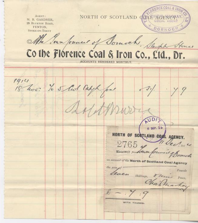 Bill for coal 1914