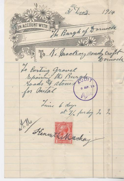 Bill for work on roads 1914