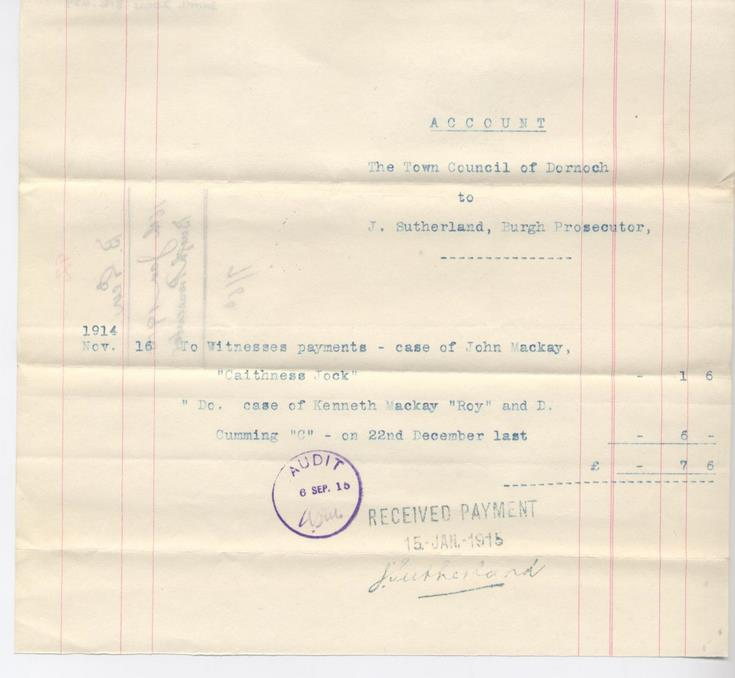 Bill for payments to witnesses 1914
