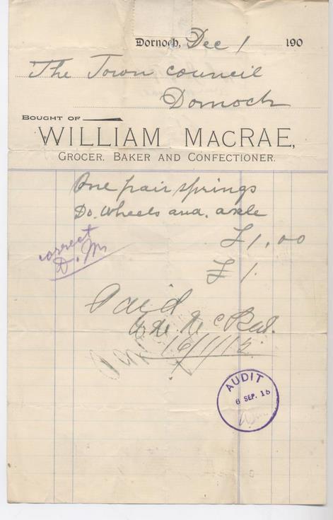 Bill for springs 1914