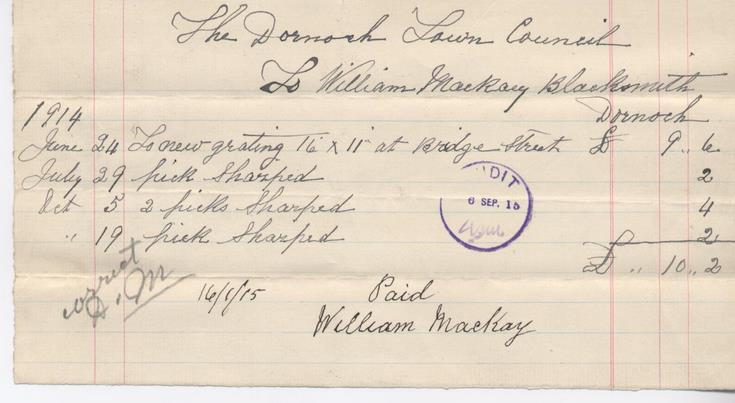 Blacksmith's bill 1915