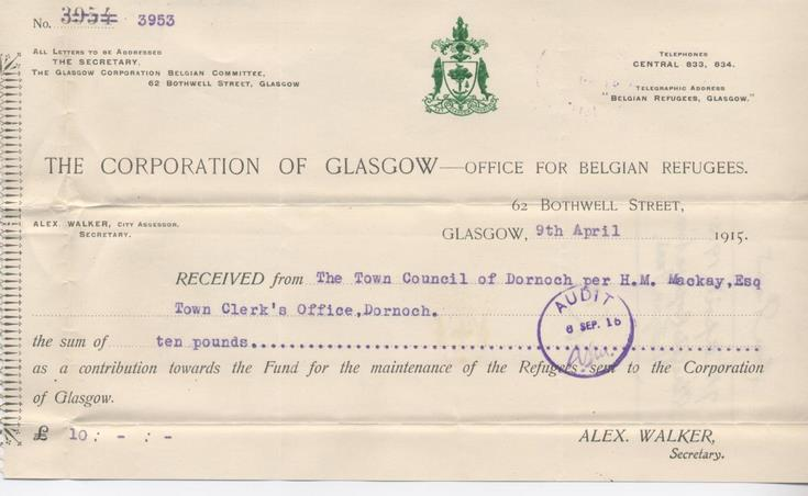 Receipt for donation for Belgian refugees 1915
