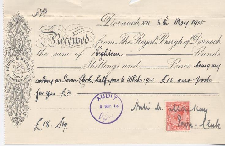 Receipt for town clerk's salary 1915