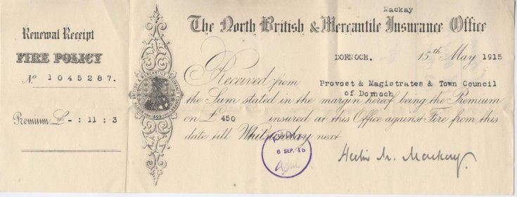 Receipt for fire insurance premium 1915